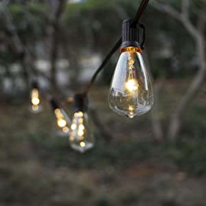 Solar String Lights Outdoor, ZHONGXIN Patio Lights String Waterproof with 10 Classic ST38 LED Edison Bulbs, Perfect for Garden, Backyard, Pergola, Party, Cafe, Bistro, Wedding, Camping Décoration