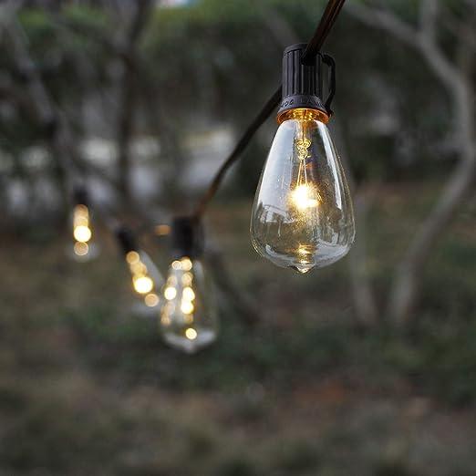 MYHH-LITES - Cadena de Luces solares para Exteriores con 10 Bombillas LED ST38 clásicas, jardín, Patio, pergola, Fiesta, café, bistró, Boda, decoración de Camping: Amazon.es: Jardín