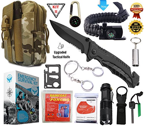 SIGMA - Emergency Survival Gear Kit, Upgraded Tactical Knife & Outdoor Camping Tools – Military Molle Pouch & Survival Bracelet For Camping, Hiking, Hunting, Driving, Fishing, Biking & Disaster (Swiss Army Multi Functional Pen)