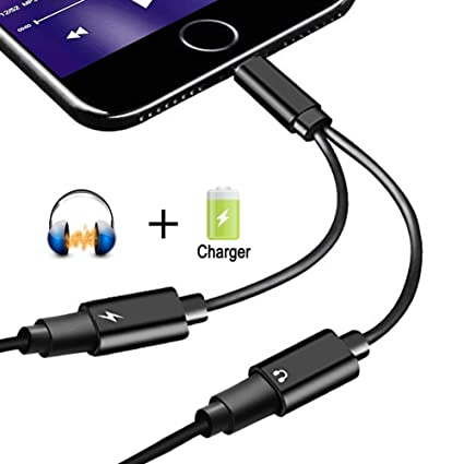 watch 4ea50 7a681 2 in 1 Headphone Jack Adapter Lightning Splitter for Apple iPhone X iPhone  8/8 Plus iPhone 7/7 Plus, Sprtjoy Dual Lightning Earphone Audio Charge ...