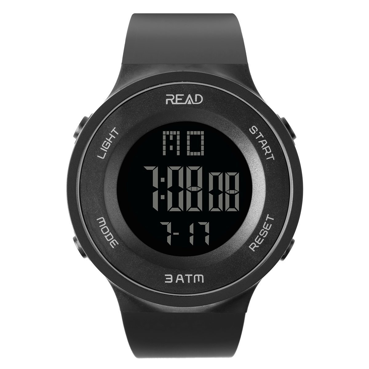 TEZER Digital Watch Outdoor Electronic Ultra Thin LED Large Face Military Light Black Stopwatch Alarm Men's Wristwatch 90003 (Black)