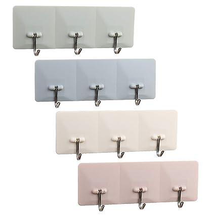 Lanmok - 4 ganchos de plástico autoadhesivos para colgar en la pared para colgar toallas de