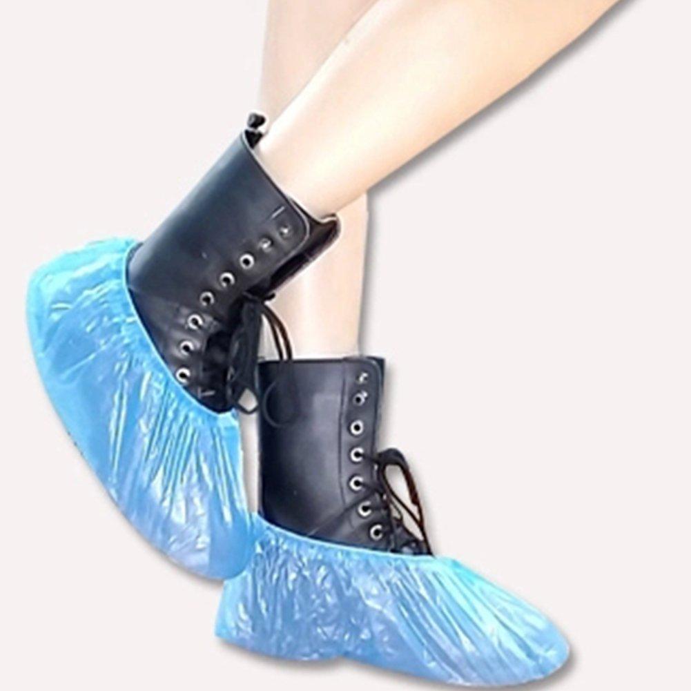 100pcs Couvre-chaussures jetables en plastique résistant à l'eau Surchaussures épais extérieur jours de pluie Bleu