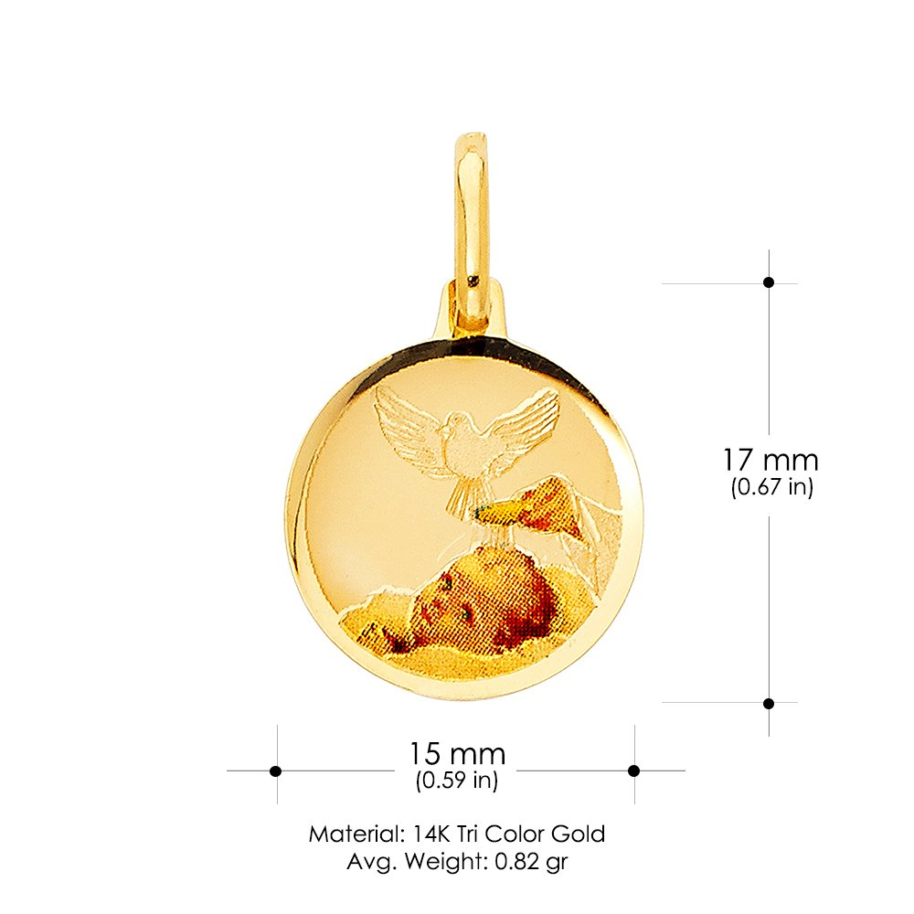 14K Tri Color Gold Baptism Charm Pendant with 1.5mm Flat Open Wheat Chain Necklace