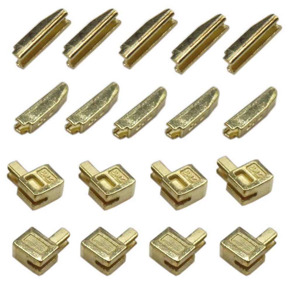YaHoGa 20 Sets #5 Metal Zipper Latch Slider Retainer Insertion Pin Zipper Bottom Zipper Stopper for Metal Zipper Repair Anti-Brass