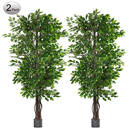 Woooow 2 Pack 6.5'/pc Ficus Silk Tree,Artificial Tree Ficus Tree with Green Leaves and Natural Trunk, Beautiful Fake Plant for Living Room Balcony Corner Decor,Indoor-Outdoor Use (Outside Artificial Trees Plants And)