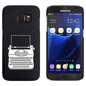 Azeeda Negro Máquina de Escribir Funda / Carcasa para Samsung Galaxy S7 (MC00004611
