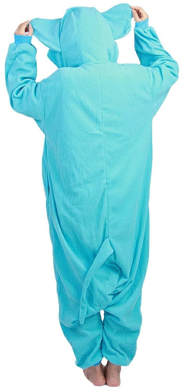 Kigurumi Pijamas Unisexo Adulto Cosplay Traje Disfraces Animal Ropa de Dormir Halloween y Navidad Elefante Azul