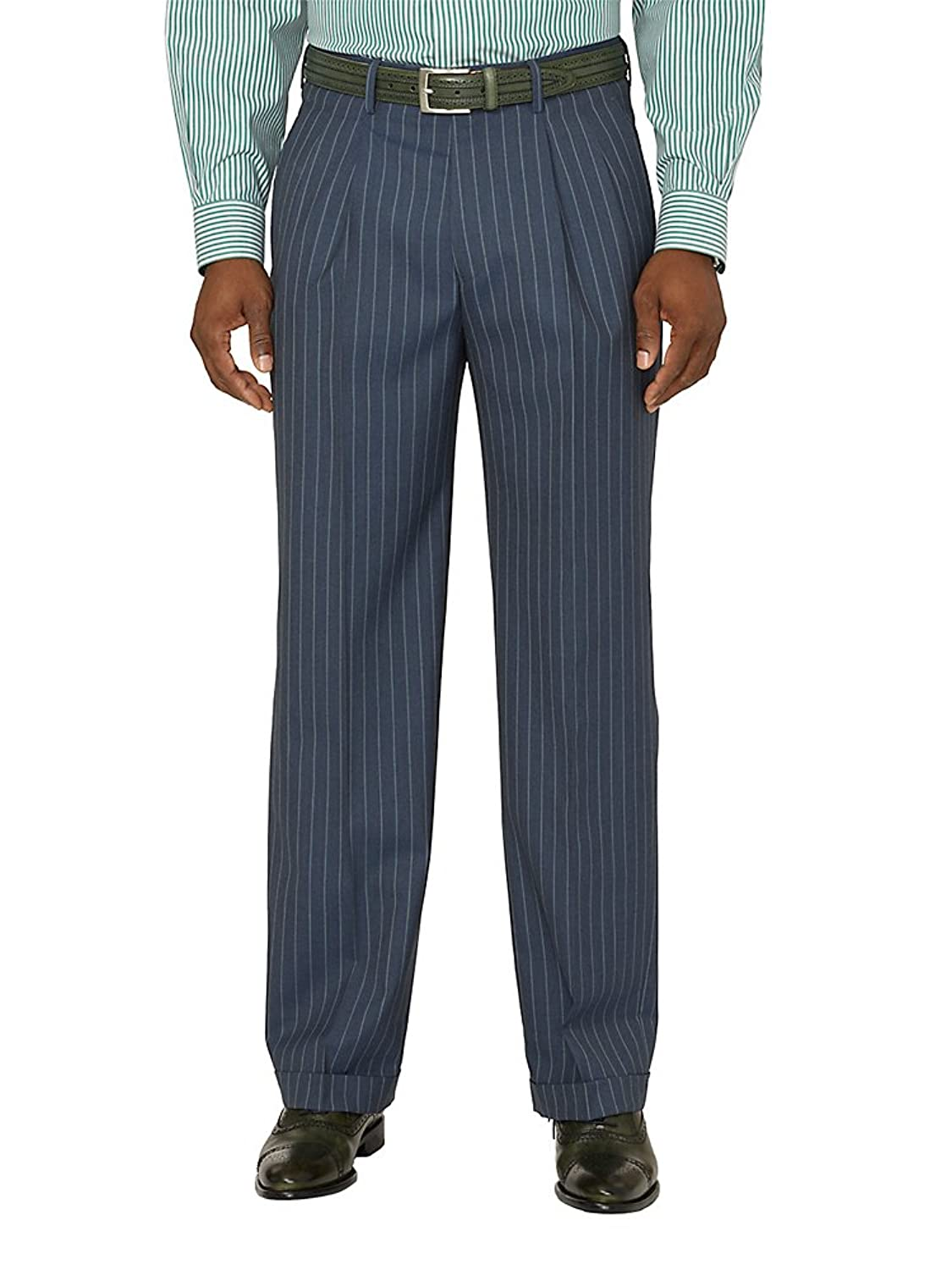 1940s Trousers, Mens Wide Leg Pants Paul Fredrick Mens Wool Stripe Pleated Pants $99.95 AT vintagedancer.com