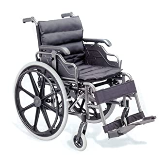Gima - Silla de ruedas, de calidad, asiento de 46 cm, tela negra