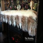 Fireplace Mantle Valance - Garland - Scarf - Christmas Decoration - White Faux Fur with Gray Wolf and Fox Tail Trim - Wonderland Creations by Fur Accents from Fur Accents
