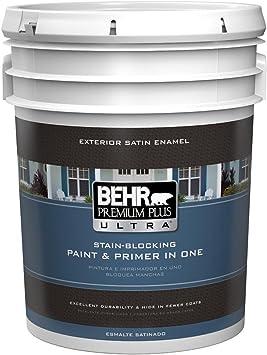 5 Gal Ultra Pure White Satin Enamel Exterior Paint Amazon Com