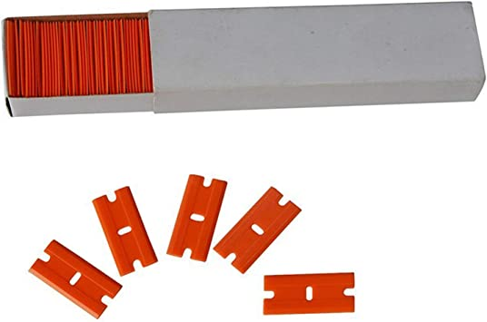 Aoxing - Espátula de afeitar de plástico reemplazable con cuchillas de doble filo para quitar etiquetas adhesivas y tinte de ventana de auto con ...