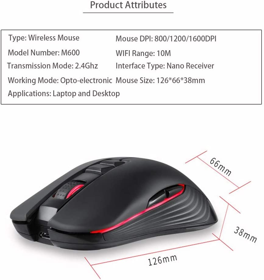 BINGFEI Computer Peripherals 2.4ghz Wireless Gaming Mouse Mini Mouse Computer Computer Mouse Hand Game Wireless Mouse,Red