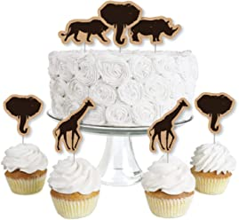 f8c903f8c074d Wild Safari - Dessert Cupcake Toppers - African Jungle Adventure Birthday  Party or Baby Shower Clear