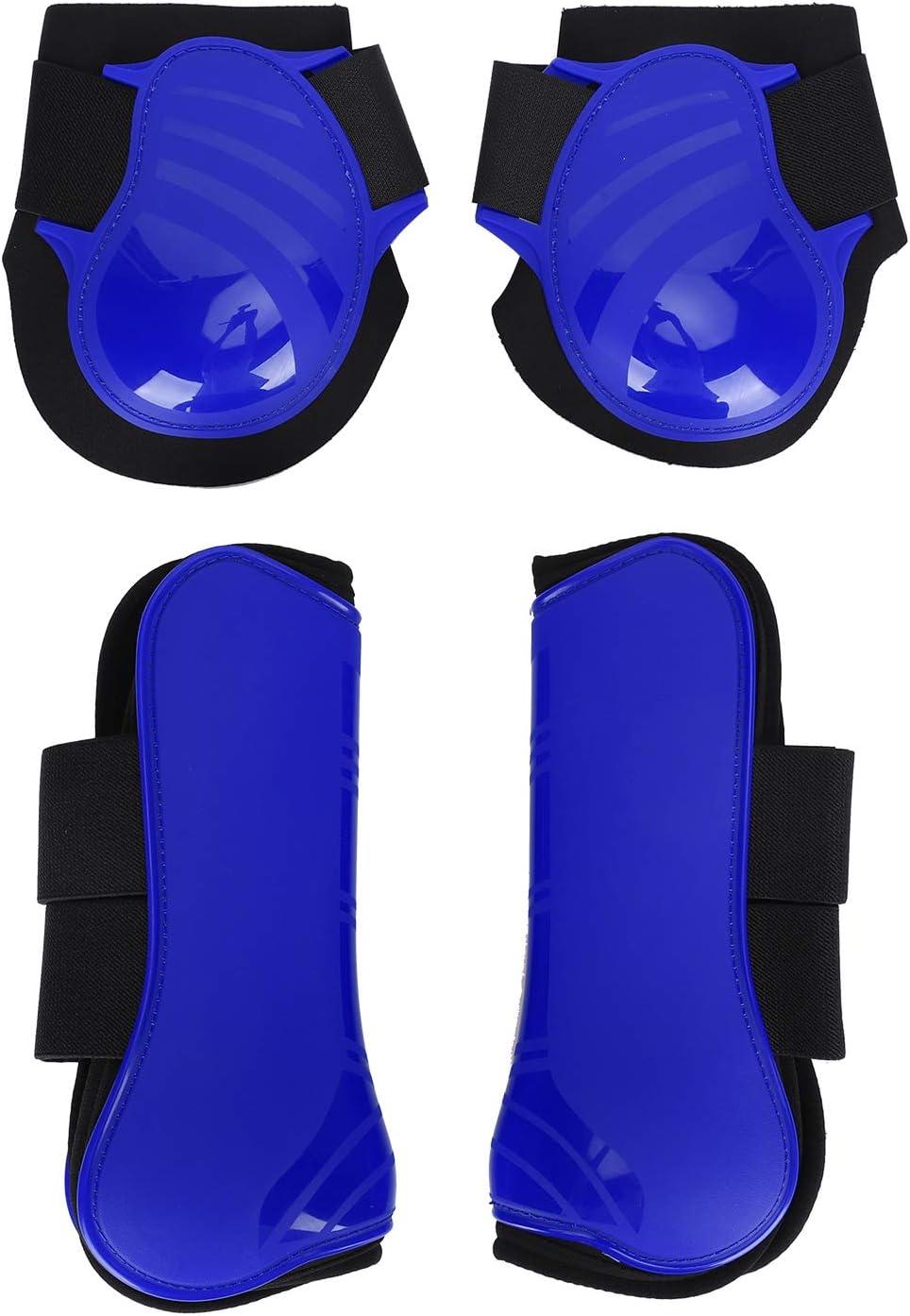 CHICIRIS Protector de Pierna de Caballo, Protector de Pierna de Caballo Engrosado, cómodo Material de PU con Carcasa de PU para Caballo(Blue, A Set of XL)