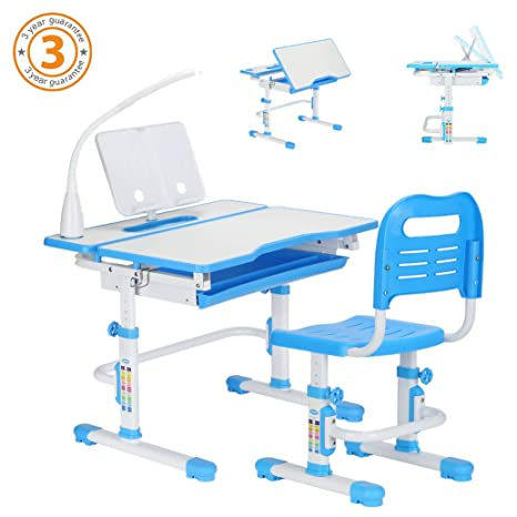 Outstanding 80Cm Height Adjustable Children Study Table Chair Suite Kids Ergonomic Study Desk Tilt Able Desktop Pull Out Drawer Free Seat Pad Free Book Theyellowbook Wood Chair Design Ideas Theyellowbookinfo
