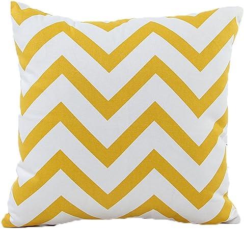 ZXKEE cojines Cover Algodón Wave Diseño decorativos funda cojin Plaza 45x45 cm (Amarillo): Amazon.es: Hogar