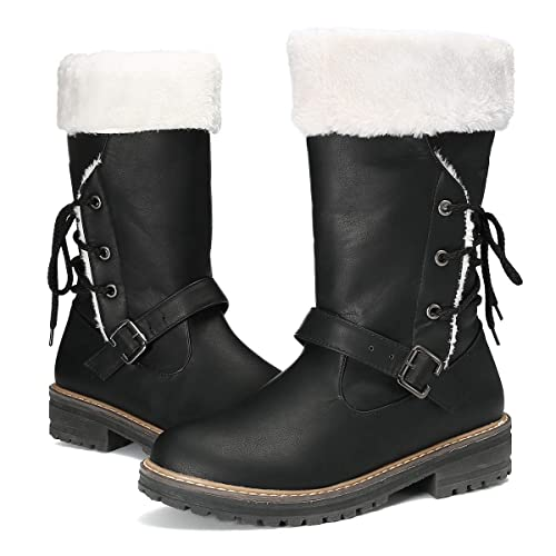 acdd4eb9d55 gracosy Women's Snow Boots, Leather Ankle Bootie Warm Flat Fur Lined Boot  Winter Outdoor Mid Calf Boots Lace up Slip on
