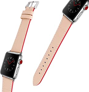 For Apple Watch Band, 42MM 44MM iWatch Band Genuine Leather Strap Stainless Metal Buckle for Apple Watch Series 4, Series 3, Series 2, Sport & Edition (Apricot)