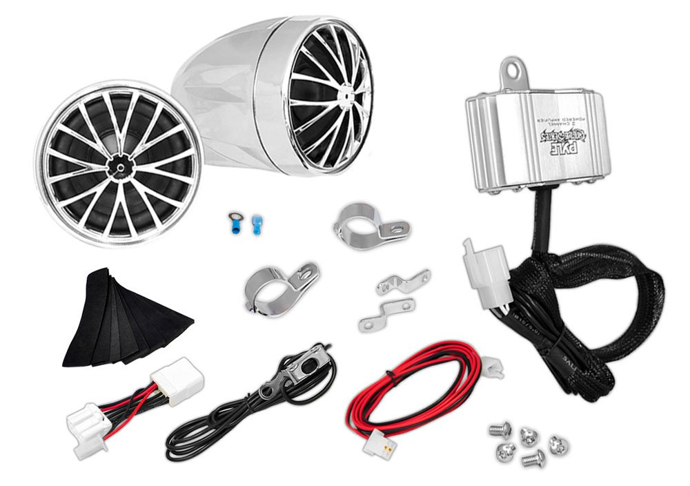 Updated Motorcycle Audio System - 400 Watts Speaker and Amplifier - ATV/Snowmobile Mount - (2) 2.25-Inch Waterproof Speakers, Dual Handlebar Mount - Bullet Style Chrome Stainless - iPod/MP3 Input