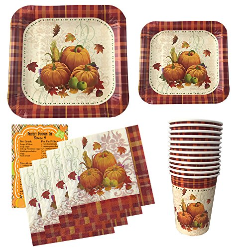 Thanksgiving Disposable Dinnerware Set For Your Holiday Party - Pumpkin Harvest - Dinner Plates, Dessert Plates, Cups, Napkins and Pumpkin Pie Recipe (Serves - Holiday Pie Recipes