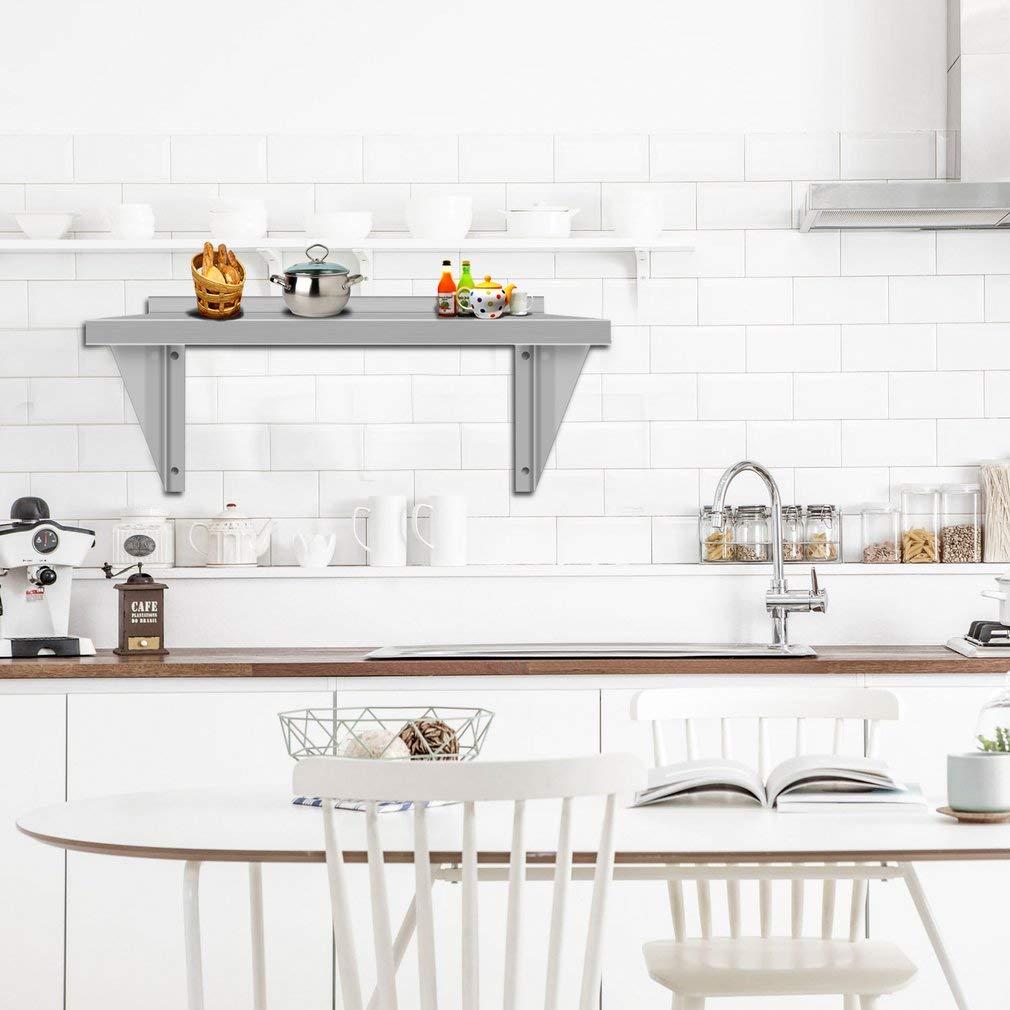 Homgrace Etag/ère de cuisine en acier inoxydable Etag/ère inox murale Etag/ère de Douche Etag/ère /à /épices pour cuisine 60x30x30cm salle de bainss,maison