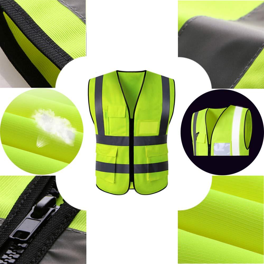 4 Warnschutz Reflektierende Streifen Auto Breakdown Sicherheitsweste July Miracle Sicherheitsweste Road Work Security Jacke Mantel mit 4 Taschen Packung mit 2 St/ück