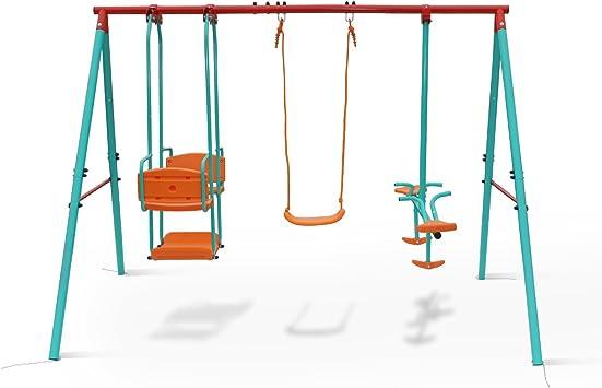 Yorbay - Columpio Infantil para jardín, con balancín, Sube-y-Baja y góndola, soporta hasta 135 kg, para 5 niños a la Vez: Amazon.es: Juguetes y juegos