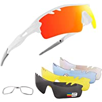 OULIQI Gafas De Sol Polarizadas para Ciclismo con 5 Lentes Intercambiables UV400 Y Montura De, Gafas para MTB Bicicleta…