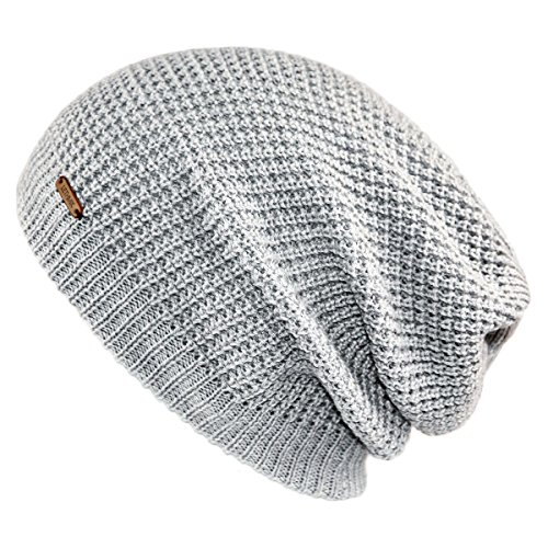 lethmik Merino Wool Slouchy Beanie,Mens&Womens Long Warm Winter Hat Mesh Knit Cap Skully Light (Long Beanie Cap)