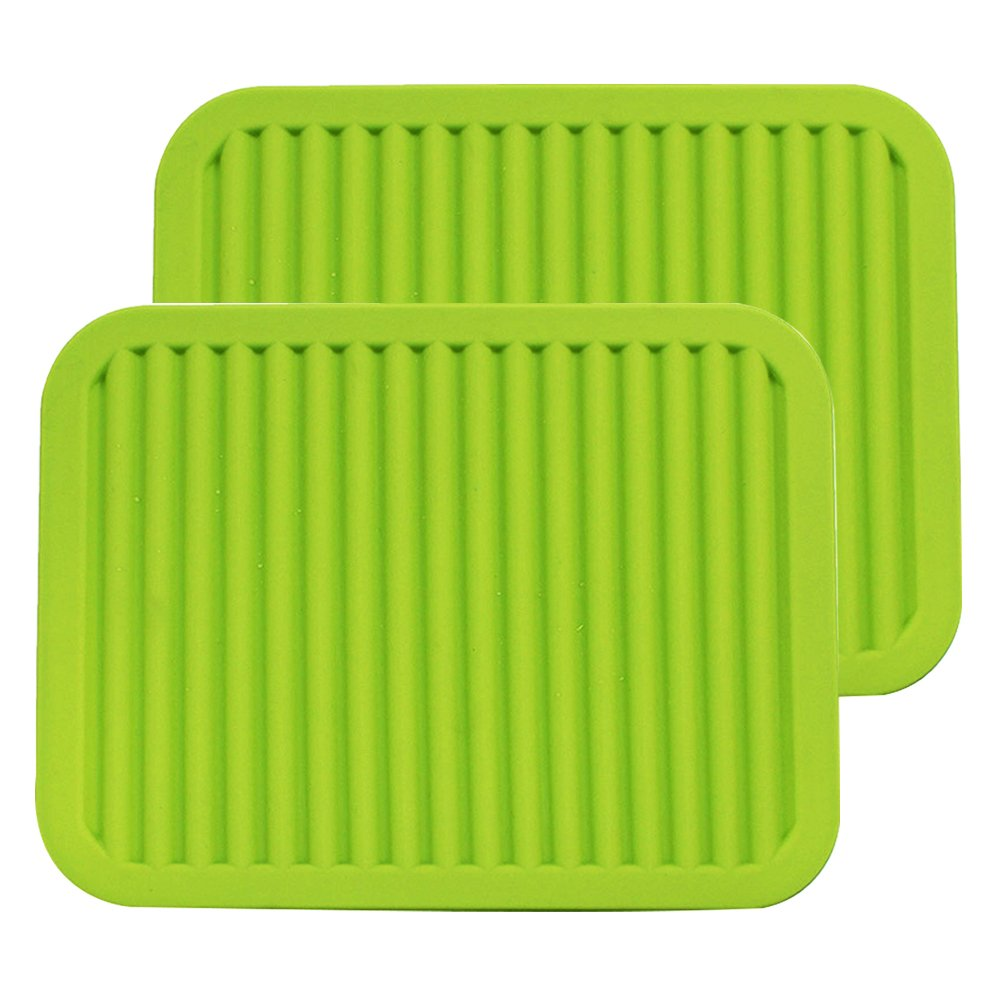 ME.FAN 9'' x 12'' Big Silicone Trivets - Multi-purpose Silicone Pot Holders, Spoon Rest and Kitchen Table Mat - Insulated, Flexible, Durable, Non Slip Hot Pads and Coasters (2 Set) Green
