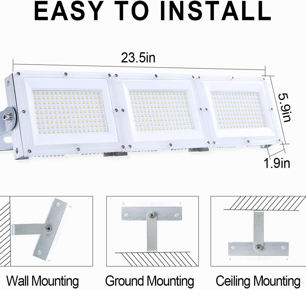 White Parking Lot Ip65 Waterproof Outdoor Floodlight With Plug Adjustable Light Head Great For Patio Billboard