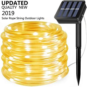 Solar String Lights Outdoor, Updated 100 LED Solar Rope Lights Outdoor Waterproof Fairy Lights 8 Modes Copper Wire Lights PVC Tube String Light for Garden Fence Party Wedding Decor (Warm White)
