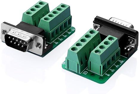 Macho//Hembra RS232 a 9Pin Bloque Terminal 485 Adaptador de módulo conector DB9