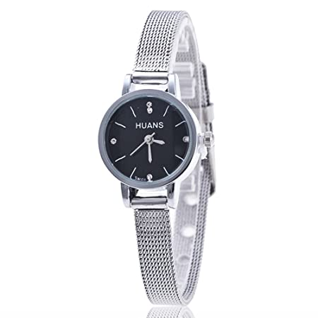 Amazon.com: Outsta Fashion Women Ladies Silver Black Stainless Steel Mesh Band Wrist Watch (Silver): Musical Instruments