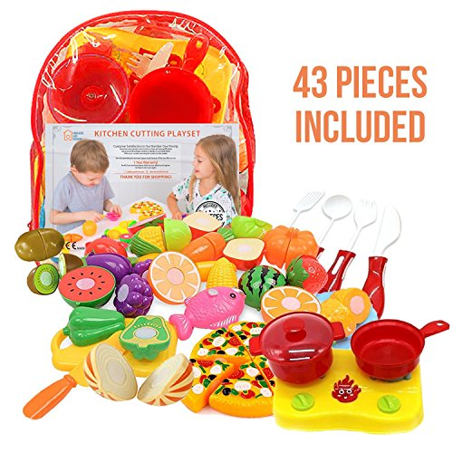 7332eca813d4 Play Food Set for Kids    Toy Food for Pretend Play - Huge 125 Piece Play  Kitchen ...