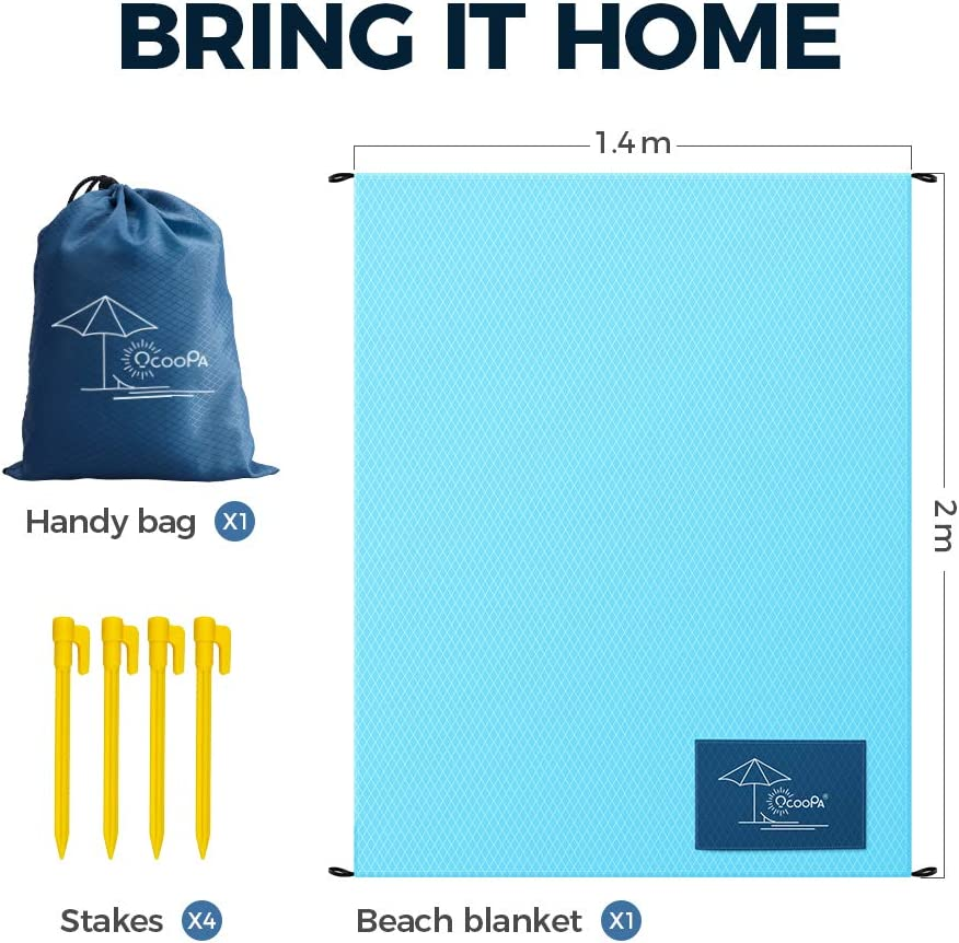 Sand Proof Lightweight Ground Tarp Sand Free Beach Blanket Soft Outdoor Mat Hiking OCOOPA Beach Blanket Waterproof Picnic Mat for Camping Concert