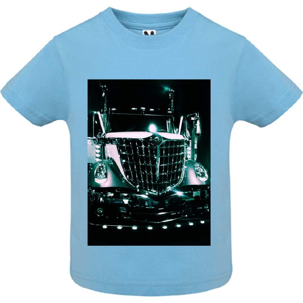 access-mobile-ile-de-re.fr T-Shirt - Manche Courte - Col Rond - Camion dcor - Bébé Garçon - Bleu - 12mois