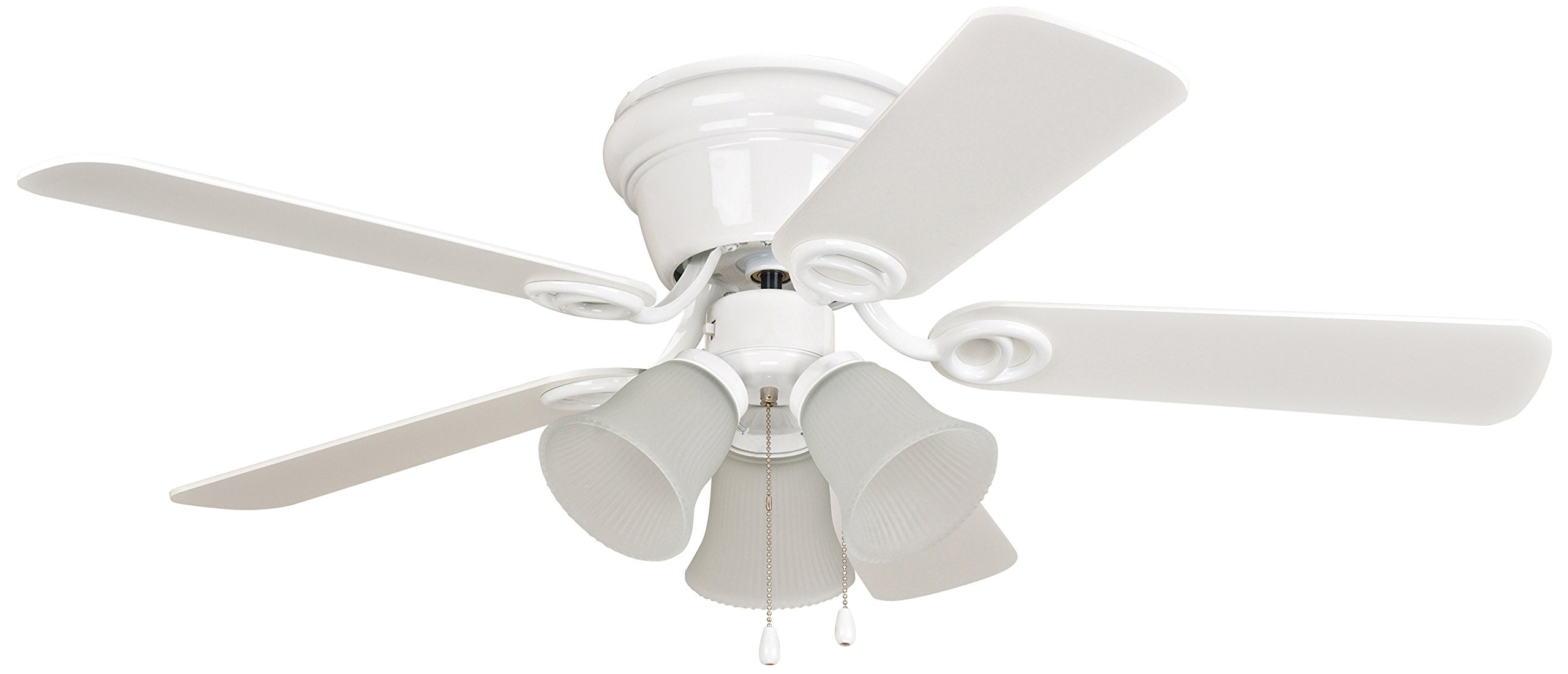 Ellington WC42WW5C3F Wyman Ceiling Fan with White/White Washed Blades and Matte White Glass, 42'', White