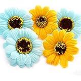 2色、色指定OK!ソープフラワー【ひまわり】花材 ハンドメイド 手作り 贈り物 シャボンフラワー 向日葵花材1個 (水色)