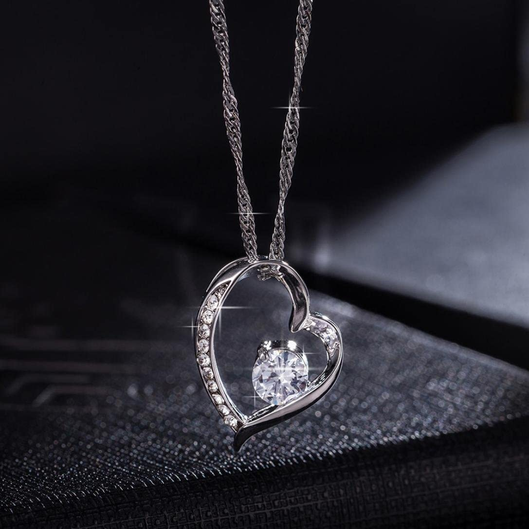 Caopixx Heart Necklace,Ladies Girl Angel Wing Necklace Women Guarded Heart Pendant Necklace Love Heart