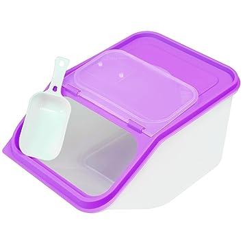 3.5L grande recipiente de almacenamiento de alimentos secos plástico Scoop dispensador de cereales mascota perro gato con tapa fácil acceso: Amazon.es: ...