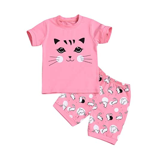 WARMSHOP Toddler Kids Clothes Sets Lovely Kitty Pattern Cotton Summer  Pajama Super Comfy Sleepwear for Girls 3a0576644