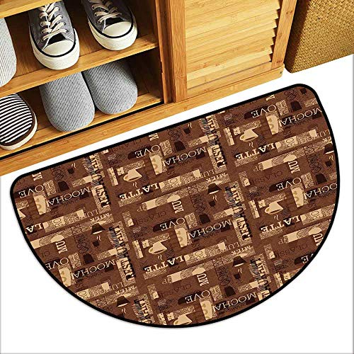 DILITECK Modern Door mat Coffee Cafeteria Pattern with Hot Mocha Latte Milk Love Typography on Scribble Backdrop Personality W30 xL18 Brown Beige