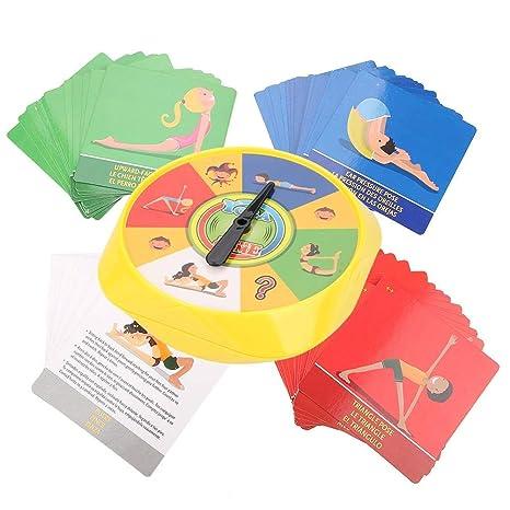 Zerodis- Juego de Mesa de Yoga 54 Pose de Yoga Tarjetas de Juego para Padres e Hijos Flexibilidad interactiva Ejercicio Juguete de Escritorio Regalos ...