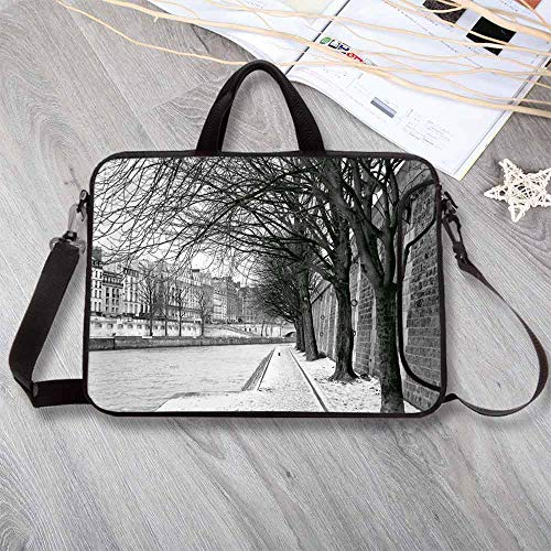 Black and White Decorations Neoprene Laptop Bag,Seine River Paris France Snowy Winter in Urban City Trees Laptop Bag for Office Worker Students,15.4