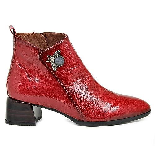1b3a3221562 Botín HISPANITAS Mujer Charol Rojo Tacón HI87414  Amazon.es  Zapatos y  complementos