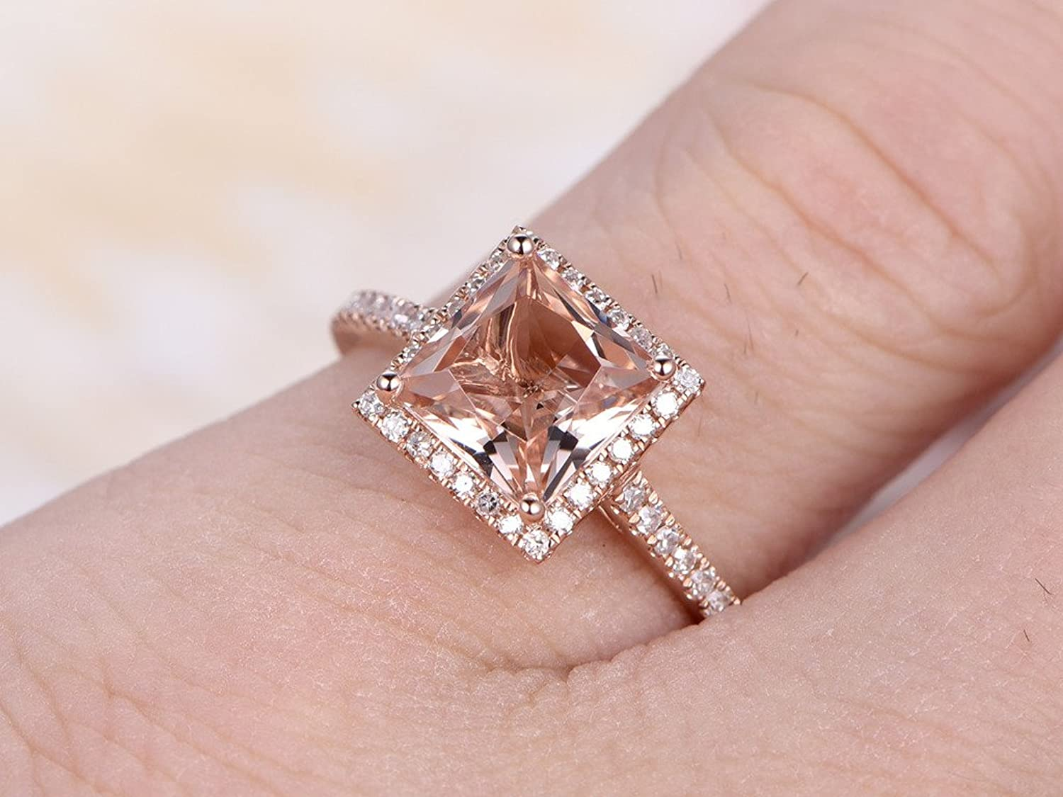 7mm Princess Cut Pink Morganite 14k Rose Gold Engagement Ring ...