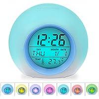 Zaibang - Reloj despertador digital, 7 colores cambiantes